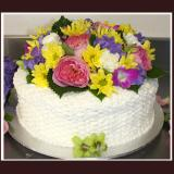 Basket Weave with Fresh Flowers Cake