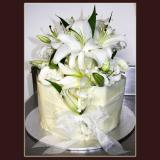 2 Tier White Lillies Cake