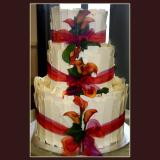 3 Tier White Chocolate with Flowers Cake