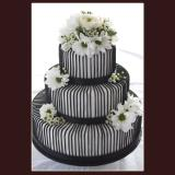 3 Tier Black Stripes Cake